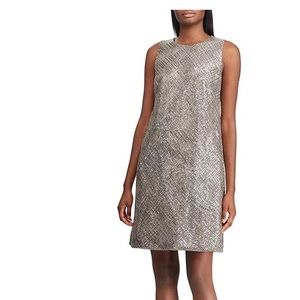RALPH LAUREN CLASSICAL TAUPE SEQUIN A-LINE DRESS